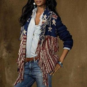 RALPH LAUREN American Flag Fringe Sweater Cardigan